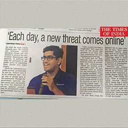 Times of India article about Sreenath Sasikumar